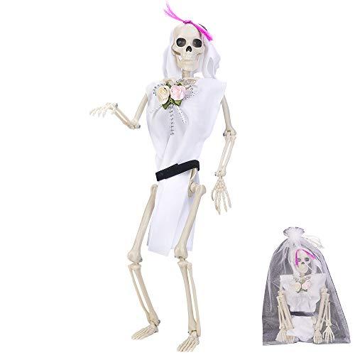 CGBOOM Halloween Deko Skelett Braut, Deko-Figur Horror Skelett Modell Ganzkörper Hängendes oder Sitzende Skeleton mit hängendem Seil für Halloween, Karneval und Themen Partys, 40 cm (1 Stück Bräut)
