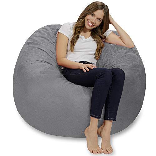 CHILL SACK Puf de Espuma viscoelástica Gigante de 4 pies con Funda de Microfibra Suave para sofá Grande