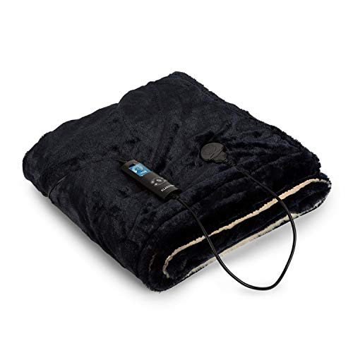 Preisvergleich Produktbild Klarstein Dr. Watson SuperSoft Heizdecke - Kuscheldecke,  Couchdecke,  Leistung: 120 W,  6 Powerstufen,  beleuchtetes Display,  waschbar,  180 x 130 cm,  SuperSoft TeddyPlush,  beige-dunkelblau