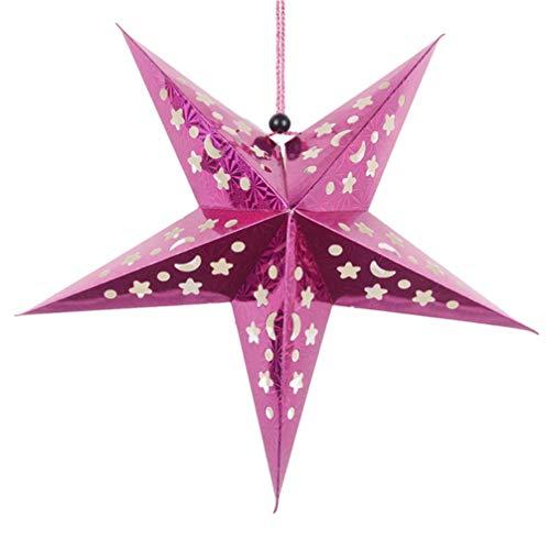 Amosfun Papier Ster Licht Ster Lampenkap Plafond Ster Opknoping Decoratie Ornament voor Thuis Bruiloft Kerstfeest Gouden 30cm