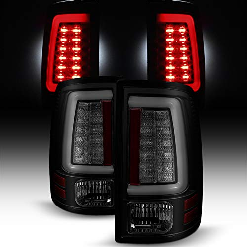 For [C-Shape LED Light Lube] v2 2009-2018 Dodge Ram Pickup Truck (DS/DJ/D2) Black Smoked Tail Lights Rear Brake Lamps Pair