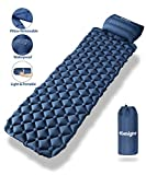 tomight Ultralight Camping Mat, Inflatable Sleeping Pad with Removable Pillow, 2.16 M Long, Handy Fasteners to...