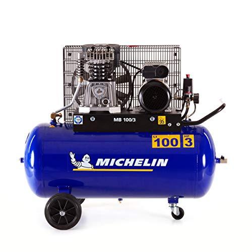 MICHELIN - Compressore d'aria MB100/3 - Serbatoio 100 litri - Motore 3 hp - Pressione massima 10 bar - Portata d'aria 250 l/min - 15 m³/h