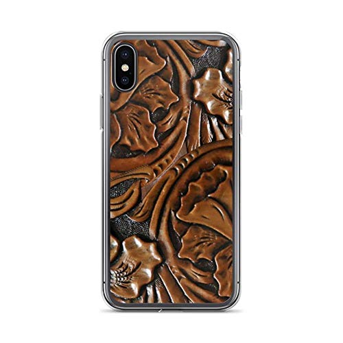 Compatible con iPhone SE 2020 Funda,iPhone 7/8 Funda 203, Faux Tooled Leather, Floral Etched Brown Pure Clear Cajas del teléfono Protección contra caídas Cover