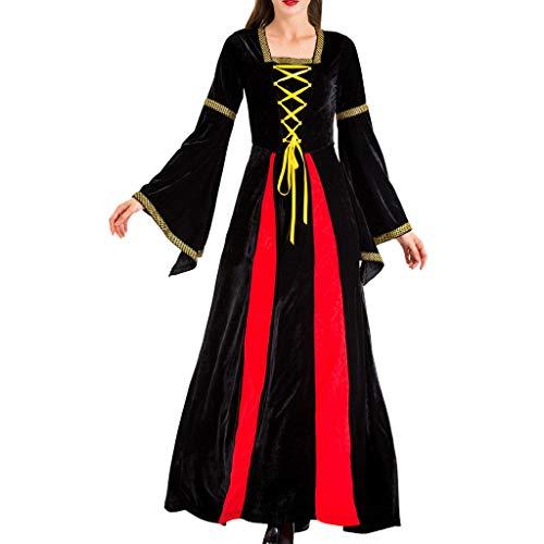 Mode Dames Halloween Cosplay Jurk, Dames Middeleeuwse Vintage Stijl Lange Mouw Borduurwerk Kleur Lace Up Heks Lange Jurk met Haarband