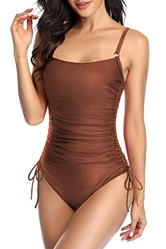 Upopby Women's Padded Push Up One Piece Swimsuits Drawstring Side Monokini Slimming Ruched Tummy Control Bathing Suits Plus Size Swimwear Bronze 16