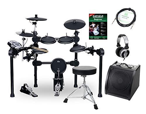 XDrum DD-520 SET 2 E-Drum Set (elektronisches Schlagzeug mit Aktiv-Monitor, Hocker, Kopfhörer, Kabel, Sticks & Fußmaschine, 458 Sounds, USB) schwarz