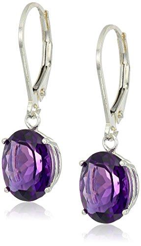 Sterling Silver Oval Amethyst Dangle Earrings