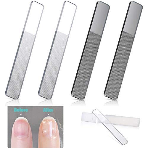 4 Stücke Glas Nagelfeilen Glasnagelfeilen Professionelle Doppelseitig Glasnagelfeile Nagelfeile für Naturnägel, Perfekte Maniküre und Pediküre Nagelpflege