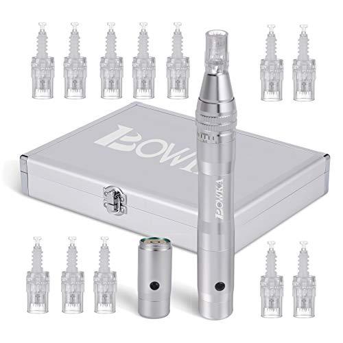 Elektrischer Derma Pen inkl. 10 Stück Mikro Nadelpatrone kabellos Wiederaufladbar verstellbar von 0,25 bis 2,5 mm (silber)
