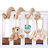lyqdxd 1Pc Baby Rattle Toy Soundable Hanging Plush Ring Toys for Crib Bar Rattle Teether with Bear Bunny Plastic Ring Bell Crib Decorations Pillow
