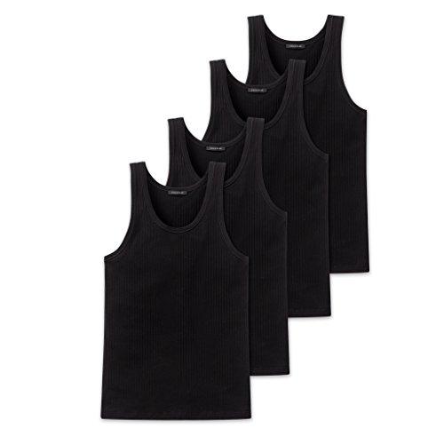 Schiesser Cotton Essentials Authentic Unterhemd -103401-4er Spar-Pack (8 (XXL), 4 X Schwarz)