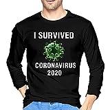JIHOLIO Camiseta de manga larga para hombre con diseño de coronavirus 2020, color negro, Negro , M