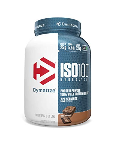 Dymatize ISO 100 Whey Protein Powder with 25g of Hydrolyzed 100% Whey Isolate, Fudge Brownie, 48 Ounce