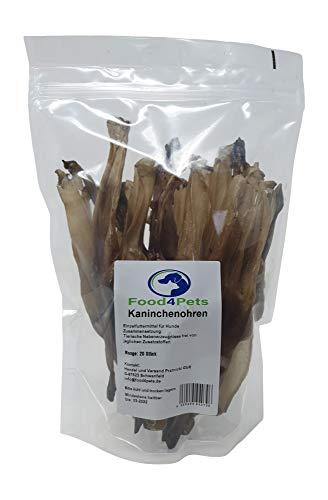 Food4Pets Kaninchenohren Hundeleckerli 20 Stück - Kauohren im wiederverschliessbaren Beutel