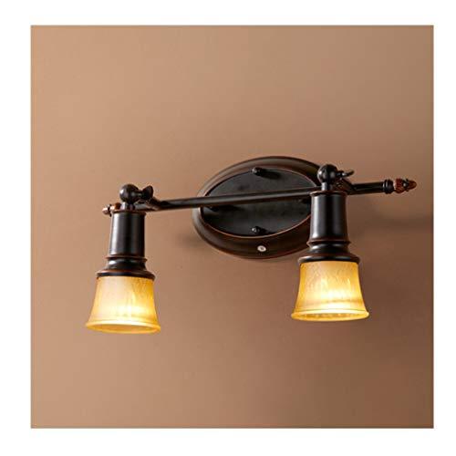 Lámpara Espejo del baño Luz delantera LED Proyectores retro Hierro forjado Pasillo europeo Lámpara de pared de pasillo Luces de baño (Color : Warm light)