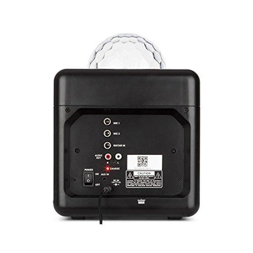 auna BC-10 - Karaoke-Anlage, Mini-Sound-System, Karaoke-System, LED-Stroboskop, 15-Watt-RMS-Ausgangleistung, Bluetooth, USB-Eingang, Gewicht: 1,7 Kg, Akku, Tragegurt, robust, schwarz