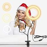 Selvim Anillo de Luz LED, Aro de Luz Fotográfica con Soporte para Móviles de Brazo Flexible a...