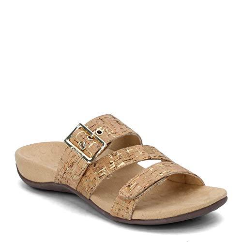 Vionic Women's Rest Skylar Slide Sandal- Adjustable Walking Sandals with Concealed Orthotic Arch Support Gold Cork 11 W US