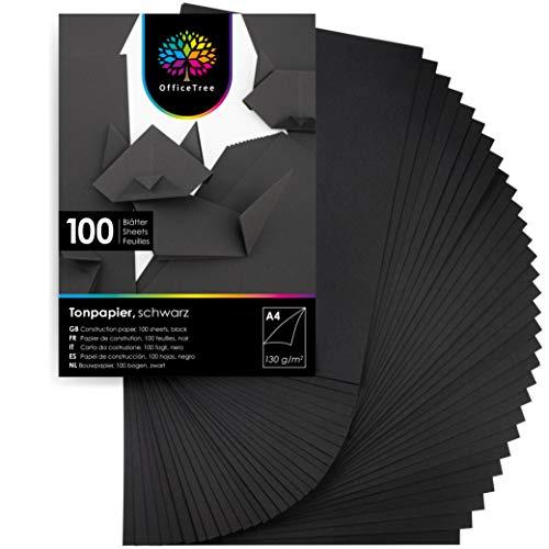 OfficeTree 100 Hoja de papel de color Negro A4-130g/m² niños cartulina para para hacer manualidades, diseñar