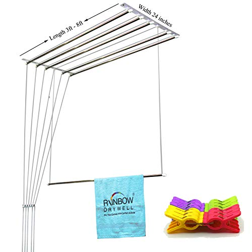 Rainbow Drywell 6 Pipes Luxury Cloth Dryer (8 Feet) + Free 2 Dozen Round Clips