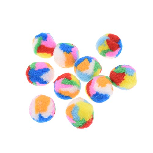 Towashine 10Pcs Small Assorted Color Kitty Yarn Puffs Cat Toys Cat Chase Balls 1.37' Diameter