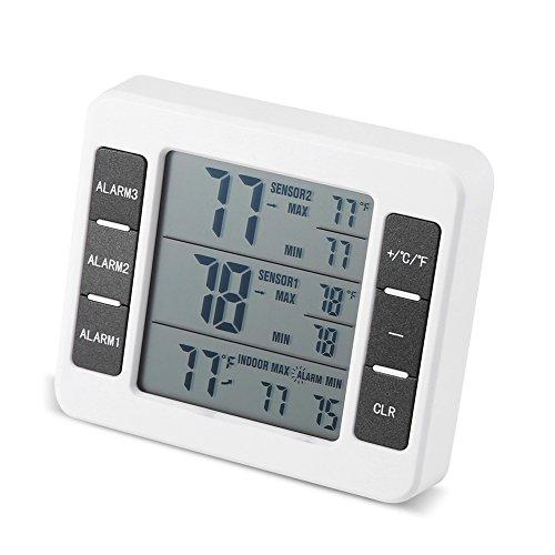 Fdit Koelkast, draadloze digitale akoestische alarmthermometer, met 2 sensoren, min/max display