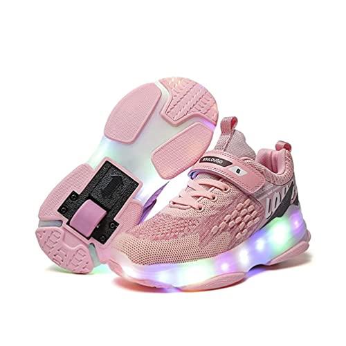 Mrzyzy Luces LED con Calzado Infantil de una Rueda, Calzado de Skate Automático, Patines en línea para Deportes al Aire Libre, 7 Colores Recargable por USB Deportes al Aire Libre Luminosos Zap