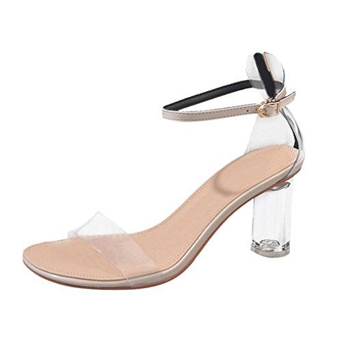Vectry High Heels Sandalen Plateau Damen Riemchen Schuhe Offene Stiefel Sommer Schuhe SchnüRen Stiefel Bequeme Plato Absatzschuhe, Transparente Knöchel Block Party PVC (EU38/CN39, Beige)