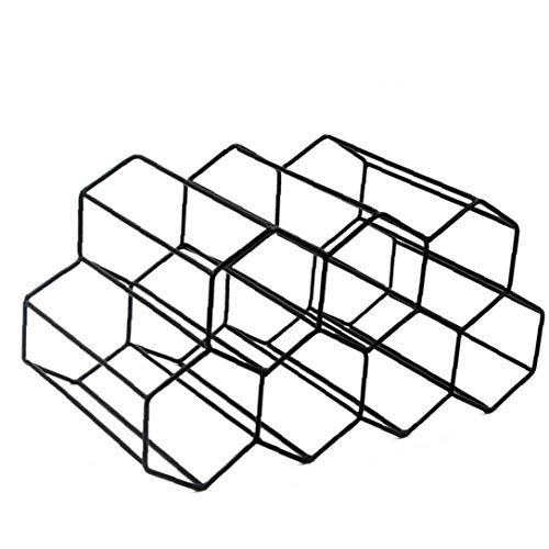 NaiCasy Independiente Armario botellero de Metal Pulido Botella de diseño geométrico Barra de la Cocina encimera Estante