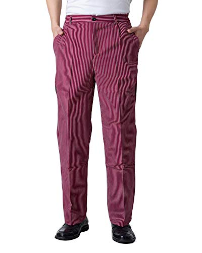 Men's Baggy Classic Stripe Chef Pants with Semi-Elastic Cook Pant Uniforms Red-Stripe-XL