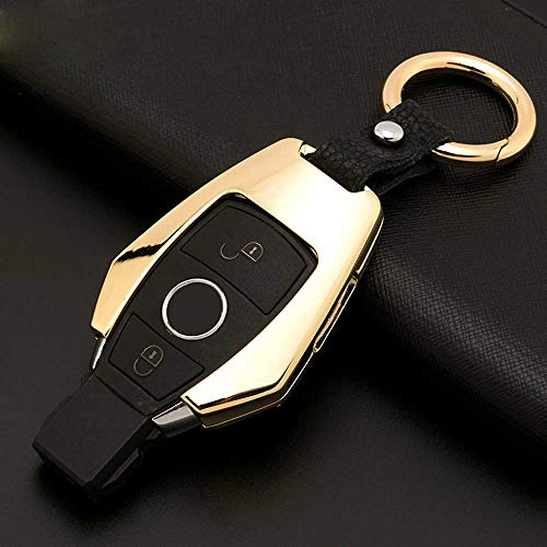 Hatu Smart Key Fob - Funda protectora para llave de coche para Mercedes Benz W204 W212 C180 GLK300 CLS CLK CLA SLK C S E Class (dorado)