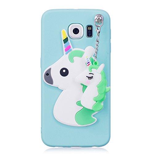 JINCHANGWU Custodia Samsung Galaxy S6 Edge Cover pendente animale Custodia Morbida Trasparente Silicone TPU Anti-Scratch Ciondolo Unicorno Lago verde