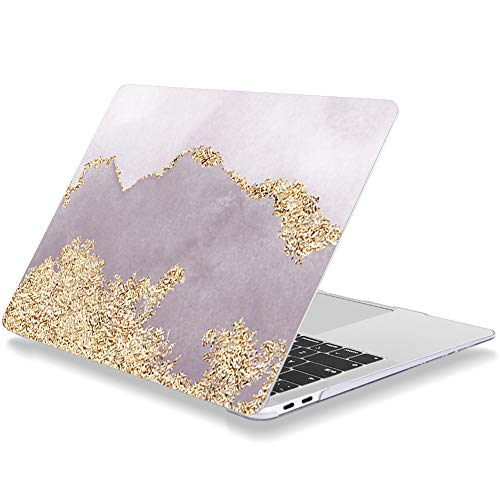 Laptop Case for Macbook Pro 13 Inch 2015 2014 2013 2012 Release A1425 A1502 Plastic Hard Shell Cover Compatible with Older Version MacBook Pro 13' with Retina Display Color Blocking (Grey Violet/Gold)