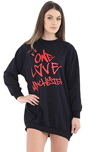 Classy Fashion Damen Mädchen Celeb Ariana Oversized Baggy Lose One Love Manchester Sweatshirt Top Tunika Kleid T-Shirt (ML, Schwarz)