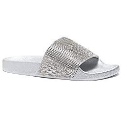 Rhinestone Glitter Silver Slide Slip On Mules Summer Shoe