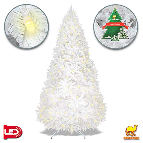 Strong Camel Pre-lit White Christmas Tree Artificial White Spruce Tree with 750 LED Lights and Metal Stand White (7.5FT)
