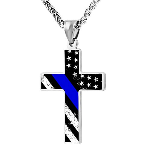 Thin Blue Lines American Flag Silver Cross Pendant Necklace Crucifix Cross Necklace for Men Cross Religious Pendant
