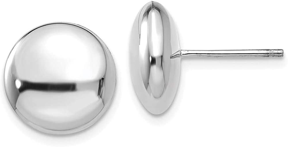 14k White Polished 12mm Button Post Earrings 12mm 12mm style H1029