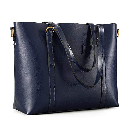 Kattee Women's Genuine Leather Tote Bag Vintage Large Capacity Satchel Work Purses and Handbags with Ajustable Straps(Blue)