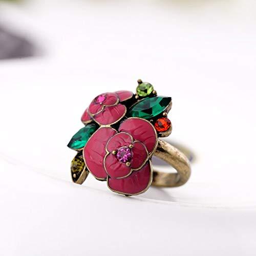 RVXZV Accesorios de Moda Multi Color Oil Crystal Inlaying Rose Flower Women Ring
