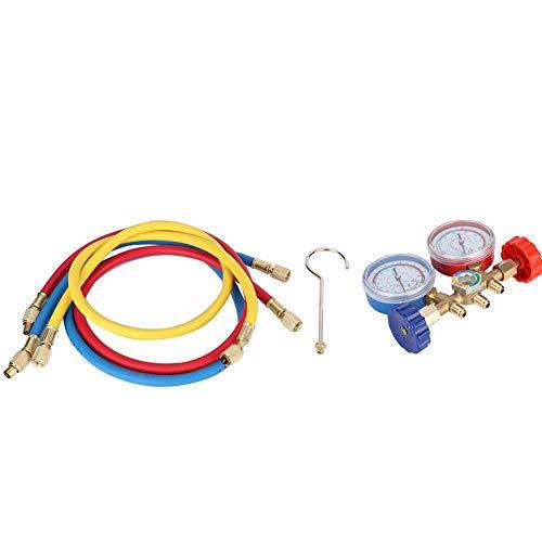Gorgeri - Juego de herramientas de aire acondicionado para refrigerante, conjunto de manómetro de diagnóstico de aire acondicionado con manguera y gancho