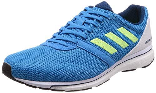 adidas Herren Adizero Adios 4 M Laufschuhe  Blau (Shock Cyan/Hi/Res Yellow/Legend Marine), Blau (Shock Cyan/Hi/Res Yellow/Legend Marine), 41 1/3 EU