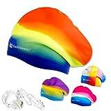 Swimtastic - Gorro de natación con pinza para nariz y tapones para los oídos, arco iris