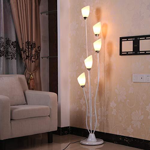 ACHNC Standleuchte Wohnzimmer LED,Modern 5 Flamme Blütenform Stehlampe Deko Nachttischlampe Weiches Stimmungslicht Für Esszimmer Schlafzimmer Flur,Weiß
