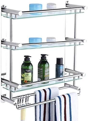 Tendedero Los estantes de baño Cuarto de baño toalla del estante de acero inoxidable de tres capas WC WC estante de cristal estante de toalla de baño resistente Anillo de mano ( Size : 40cm )