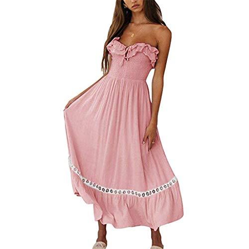 Kleider Damen Dasongff Sommerkleider Frauen Bikini Bademode Cover Up Cardigan Beach Badeanzug Kleid Strandkleid Chiffonkleid Weiß (Rosa-H, M)