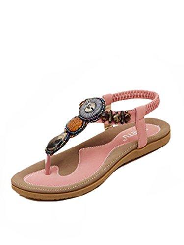 Sandalen Damen Sommer Süße Perlen Clip Toe Wohnungen Bohemian Fischgräten Sandalen (41, Rosa)