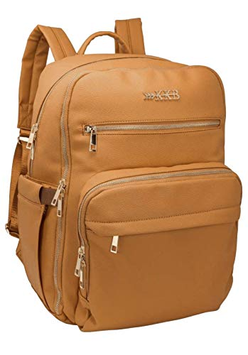 KKB Vegan Leather Diaper Bag Backpack, Equipped with Portable Changing Pad, Stroller Straps and Elastic Luggage Strap for Travel, Large Capacity, Stylish, Durable, Organized and Lightweight (Camel)