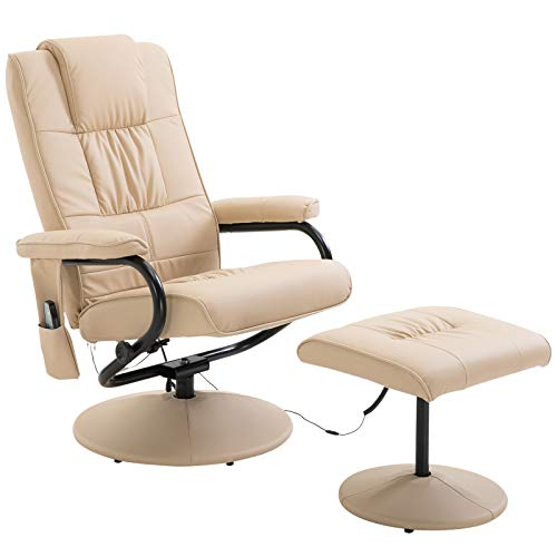 HOMCOM Faux Leather Massage Recliner Chair Easy Sofa Armchair Beauty Couch Bed with Foot Stool - Beige